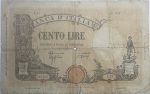 obverse: Banconote Italiane. Regno D Italia. 100 lire Barbetti (Fascio). Dec. Min. 15 Marzo 1943. Crapanzano 221A.  qMB.