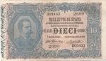 obverse: Banconote Italiane. Regno d Italia. 10 lire Effige Umberto I. Dec. Min. 10-04-1915. Crapanzano  BS39. qSPL