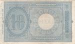 reverse: Banconote Italiane. Regno d Italia. 10 lire Effige Umberto I. Dec. Min. 10-04-1915. Crapanzano  BS39. qSPL