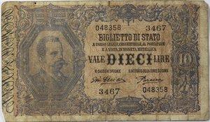 obverse: Banconote Italiane. Regno d Italia. 10 lire Effige Umberto I. Crapanzano BS40. Dec. Min. 28-12-1917. Strappo centrale in alto, diverse pieghe stirate. MB.