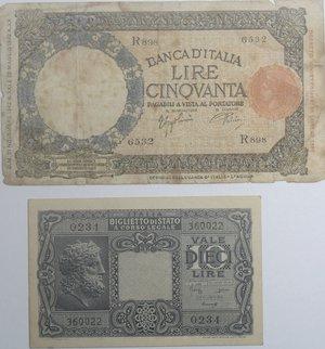obverse: Banconote Italiane. Regno D Italia-Luogotenenza, 10 ire testa di Giove. SPL. Carta ingiallita, 50 lire lupa Capitolina. MB.
