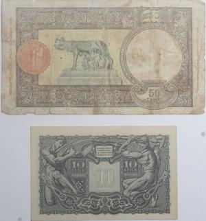 reverse: Banconote Italiane. Regno D Italia-Luogotenenza, 10 ire testa di Giove. SPL. Carta ingiallita, 50 lire lupa Capitolina. MB.