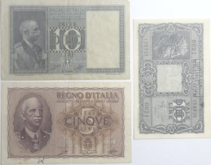 obverse: Banconote Italiane. Regno d Italia. Lotto da 3 pezzi. 10 lire e 5 lire Impero. MB-qBB. 10 lire Testa di giove. SPL.