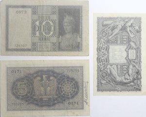reverse: Banconote Italiane. Regno d Italia. Lotto da 3 pezzi. 10 lire e 5 lire Impero. MB-qBB. 10 lire Testa di giove. SPL.