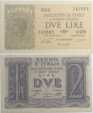 obverse: Banconote Italiane. Regno D Italia. 2 lire 1939  e 1944. Lotto da due pezzi in qFDS/FDS.