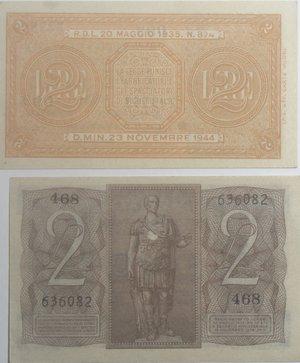 reverse: Banconote Italiane. Regno D Italia. 2 lire 1939  e 1944. Lotto da due pezzi in qFDS/FDS.