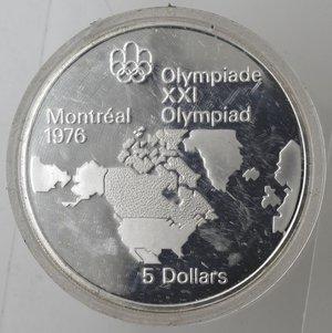 reverse: Monete Estere. Canada.Elisabetta II.5 Dollari 1973. Olimpiadi di Montreal 1976. Mappa del Nord America. AG 925. Km. 85. FDC.Proof.