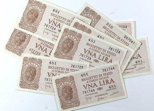 obverse: Banconote Italiane. Regno D Italia. 1 lira. Lotto di 10 pezzi. Dallo SPL al FDS.