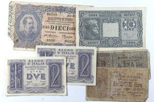 obverse: Banconote Italiane. Regno D Italia. Lotto di 6 pezzi. Medio bassa conservazione.