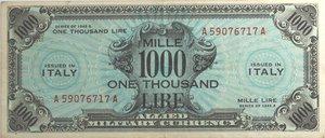 obverse: Banconote. Allied Military Currency. Serie 1943. 1000 Am lire Bilingue FLC. Crapanzano  OS65. Pieghe stirate. BB+.