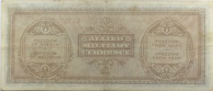 reverse: Banconote. Allied Military Currency. Serie 1943. 1000 Am lire Bilingue FLC. Crapanzano  OS65. Pieghe stirate. BB+.