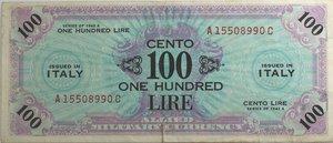 obverse: Banconote. Allied Military Currency. Serie 1943. 100 Am lire Bilingue FLC. Crapanzano  OS61C. Pieghe stirate, e strappo centrale in basso, nel complesso BB-BB+.