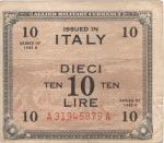 obverse: Banconote. Allied Military Currency. Serie 1943. 10 Am lire. Serie 1943. Bilingue. FLC. Crapanzano OS41. BB. Carta ingiallita, presenta pieghe stirate.