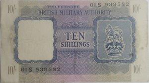 obverse: Banconote. Occupazione Inglese in Italia. 10 Shillings 1943. Crapanzano OS29. qBB.