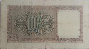 reverse: Banconote. Occupazione Inglese in Italia. 10 Shillings 1943. Crapanzano OS29. qBB.