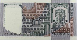 reverse: Banconote Italiane. Repubblica. 10.000 lire A. Del Castagno. Dec Min. 6 Settembre 1980. Crapanzano 582. FDS.