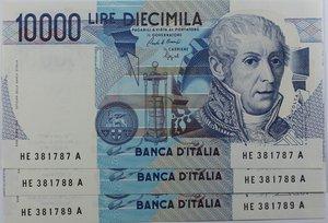 obverse: Banconote Italiane. Repubblica. 10.000 lire Alessandro Volta. Crapanzano 589. Dec. Min. 10.09.1992. Lotto da 3 pezzi consecutivi. FDS.