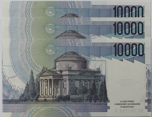 reverse: Banconote Italiane. Repubblica. 10.000 lire Alessandro Volta. Crapanzano 589. Dec. Min. 10.09.1992. Lotto da 3 pezzi consecutivi. FDS.