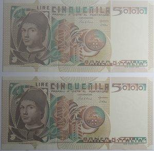 obverse: Banconote Italiane. Repubblica. 5.000 lire Antonello da Messina. Dec. Min. 19 ottobre 1983. Crapanzano 539. Lotto di 2 pezzi consecutivi. FDS.