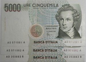 obverse: Banconote Italiane. Repubblica. 5.000 lire Bellini. Dec. Min. 26.11.1996. Crapanzano 543. Lotto da 3 banconote progressive. FDS.