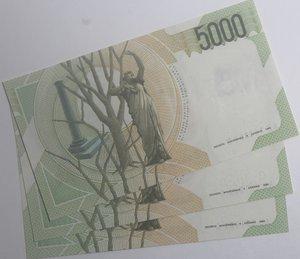 reverse: Banconote Italiane. Repubblica. 5.000 lire Bellini. Dec. Min. 26.11.1996. Crapanzano 543. Lotto da 3 banconote progressive. FDS.