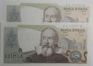 obverse: Banconote Italiane. Repubblica. 2.000 lire Galilei. Dec. Min. 22 ottobre 1976. Crapanzano 503. Lotto di 2 banconote con serie consecutive. FDS.