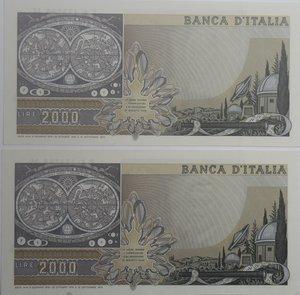 reverse: Banconote Italiane. Repubblica. 2.000 lire Galilei. Dec. Min. 22 ottobre 1976. Crapanzano 503. Lotto di 2 banconote con serie consecutive. FDS.
