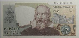 obverse: Banconote Italiane. Repubblica. 2.000 lire Galilei. Dec. Min. 22 ottobre 1976. Crapanzano 503.  FDS con impercettibile piega diagonale al centro.
