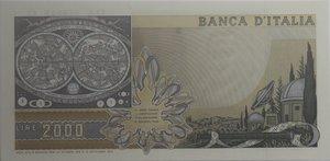 reverse: Banconote Italiane. Repubblica. 2.000 lire Galilei. Dec. Min. 22 ottobre 1976. Crapanzano 503.  FDS con impercettibile piega diagonale al centro.