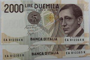 obverse: Banconote Italiane. Repubblica. 2.000 lire Guglielmo Marconi. Crapanzano 505. Dec. Min. 24.10.1990. Lotto di 2 pezzi consecutivi. FDS.