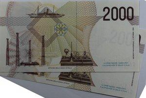 reverse: Banconote Italiane. Repubblica. 2.000 lire Guglielmo Marconi. Crapanzano 505. Dec. Min. 24.10.1990. Lotto di 2 pezzi consecutivi. FDS.