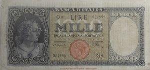 obverse: Banconote Italiane. Repubblica. 1.000 lire Italia (Testina ). Dec. Min. 20 Marzo 1947. Crapanzano 466. A. BI.690. BB stirata. RR.