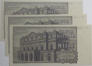 reverse: Banconote Italiane. Repubblica. 1.000 lire G. Verdi. 2° tipo. Dec. Min. 6 settembre 1980. Crapanzano 486. lotto di 3 banconote di cui 2  consecutive. FDS.