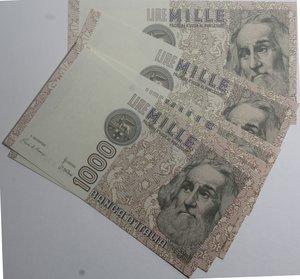 obverse: Banconote Italiane. Repubblica. 1.000 lire Marco Polo. Dec. Min. vari. Lotto di 5 pezzi. FDS.