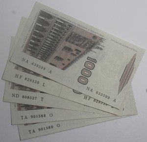 reverse: Banconote Italiane. Repubblica. 1.000 lire Marco Polo. Dec. Min. vari. Lotto di 5 pezzi. FDS.