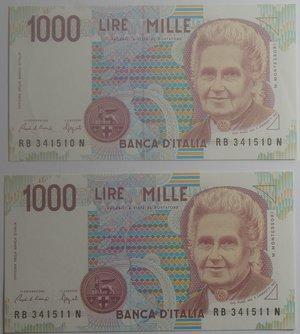 obverse: Banconote Italiane. Repubblica. 1.000 lire Montessori. Lotto 2 pezzi. Crapanzano 495. Dec. Min. 25-07-91. Serie progressiva. FDS.