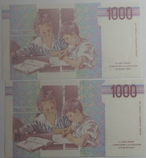 reverse: Banconote Italiane. Repubblica. 1.000 lire Montessori. Lotto 2 pezzi. Crapanzano 495. Dec. Min. 25-07-91. Serie progressiva. FDS.