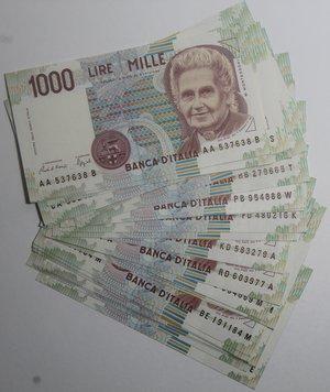obverse: Banconote Italiane. Repubblica. 1.000 lire Maria Montessori. Lotto di 31 pezzi. Tutti FDS. Contenenti tutti i decreti di emissione, tranne C (3a emissione).