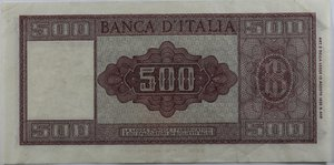 reverse: Banconote Italiane. Repubblica. 500 lire Italia Ornata di Spighe. Dec. Min. 23 Marzo 1961. Crapanzano 454. Carta sgualcita ma non presenta strappi. BB.