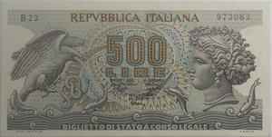 obverse: Banconote Italiane. Repubblica. 500 lire Aretusa. Dec. Min. 23 febbraio 1970. Alfa BI552. SPL.