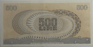 reverse: Banconote Italiane. Repubblica. 500 lire Aretusa. Dec. Min. 23 febbraio 1970. Alfa BI552. SPL.