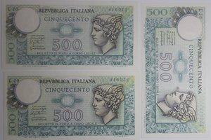 obverse: Banconote Italiane. Repubblica. 500 lire Mercurio. Dec. Min. 20 Dicembre 1976. Gigante BI 555. Lotto di 3 pezzi consecutivi. FDS.