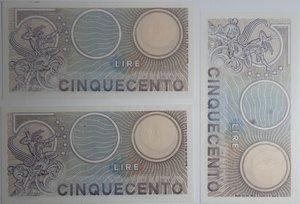 reverse: Banconote Italiane. Repubblica. 500 lire Mercurio. Dec. Min. 20 Dicembre 1976. Gigante BI 555. Lotto di 3 pezzi consecutivi. FDS.