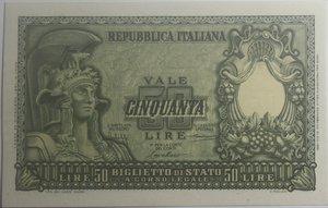 obverse: Banconote Italiane. Repubblica. 50 lire Atena Elmata. Crapanzano BS54. Dec. Min. 31-12-1951. FDS.
