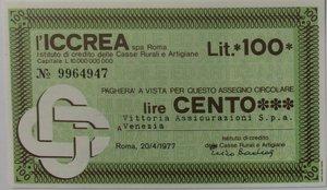 obverse: Miniassegni. ICCREA Istituto di Credito delle Casse Rurali e Artigiane Spa. Lire 100. Vittoria Assicurazioni Spa Venezia. 20-04-1977. FDS.