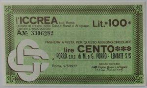 obverse: Miniassegni. ICCREA Istituto di Credito delle Casse Rurali e Artigiane Spa. Lire 100. Porro Snc di M e G. Porro Lentate S/S (MB). 02-05-1977. FDS.