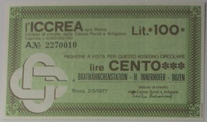 obverse: Miniassegni. ICCREA Istituto di Credito delle Casse Rurali e Artigiane Spa. Lire 100. Brathahnchenstation - H. Innerhofer - Bozen. 02-05-1977. FDS.
