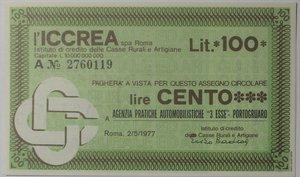 obverse: Miniassegni. ICCREA Istituto di Credito delle Casse Rurali e Artigiane Spa. Lire 100. Agenzia Pratiche Automobilistiche