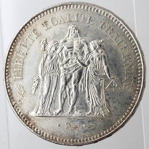 reverse: Monete Estere. Francia. 50 Franchi 1975. Ag 900. Km. 941.1. Peso 30 gr. qFDC. Rovescio patinato.