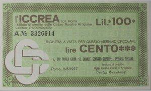 obverse: Miniassegni. ICCREA Istituto di Credito delle Casse Rurali e Artigiane Spa. Lire 100. Bar Tavola Calda